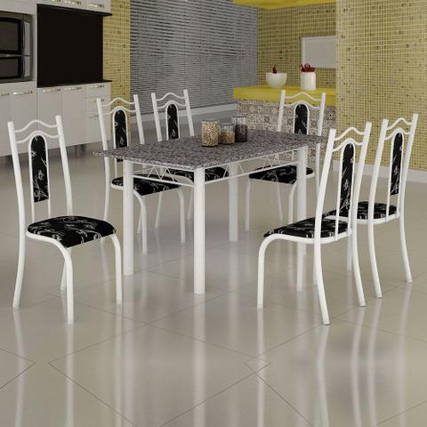 Imagem de Conjunto de Mesa Uruguai 1,40m Tampo Granito com 6 Cadeiras 620/13 Madmelos Branco / Preto Flor
