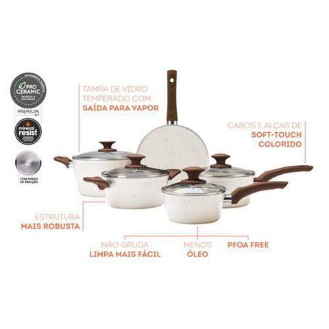 Imagem de Conjunto de panelas 5 peças ceramic life granada indução vanila Brinox