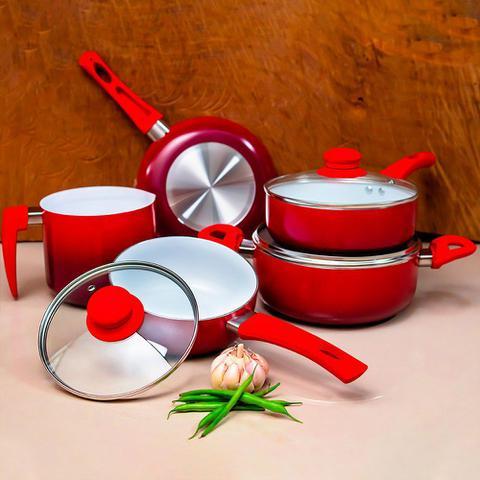 Imagem de Conjunto de Panelas - 5 Peças - Revestimento de Cerâmica - Vermelho
