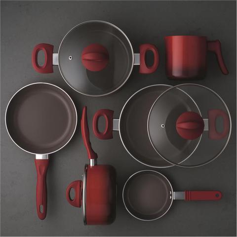 Imagem de Conjunto de Panelas 6 Peças Ceramic Life Smart Plus Vermelho Brinox 4791/101