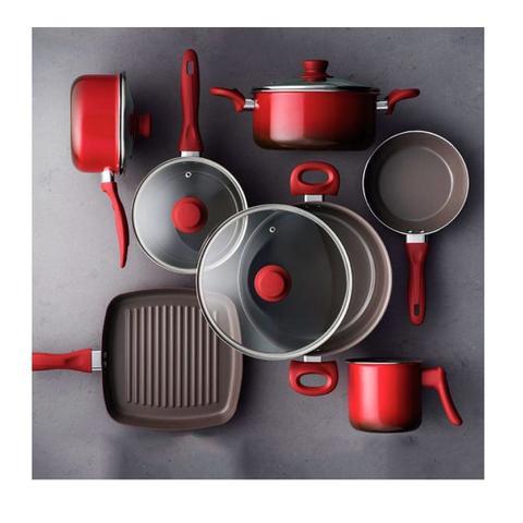 Imagem de Conjunto de Panelas Brinox Life Smart Cerâmica 7 Peças Vermelho