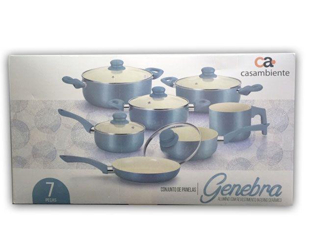 Imagem de Conjunto de Panelas Casa Ambiente Genebra, 7 Peças, Revestimento Cerâmica - AL039