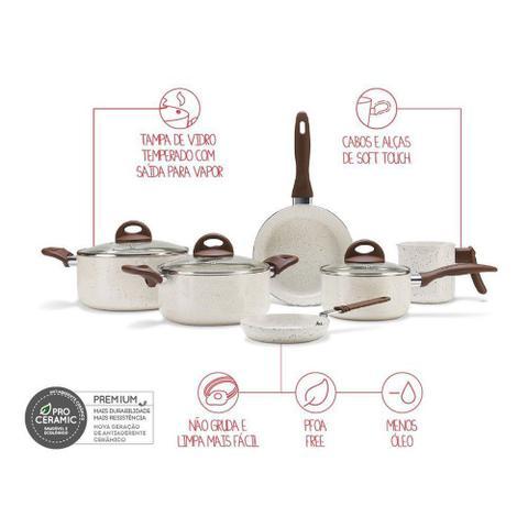Imagem de Conjunto de Panelas Ceramic Life Smart Plus 6 Peças Vanilla - Brinox