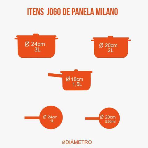 Imagem de Conjunto de Panelas Milano 5 Peças Revestimento Cerâmica - Casambiente