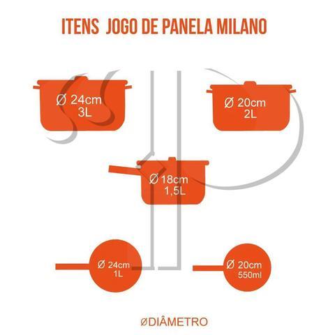 Imagem de Conjunto de Panelas Revestimento Cerâmica Milano 5 Peças Espessura 2,5mm Casambiente