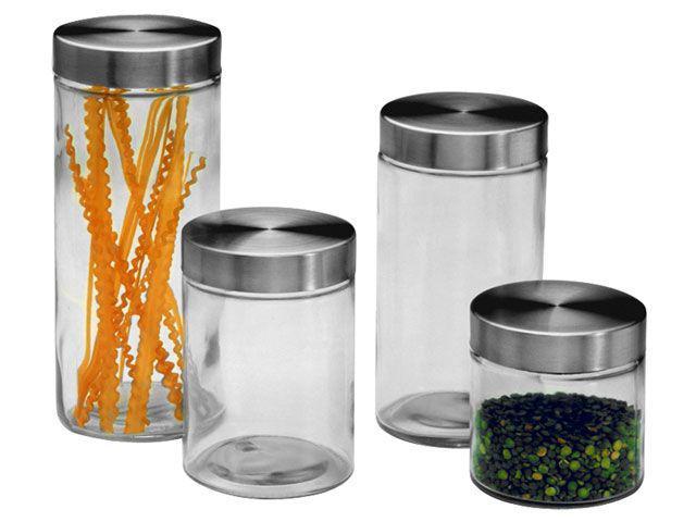 Imagem de Conjunto de Potes para Mantimentos 4 Peças Inox
