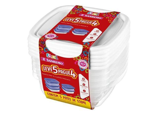 Imagem de Conjunto de Potes Plástico com Tampa 530 ml (Leve 5 e Pague 4) SanRemo - SAN 048