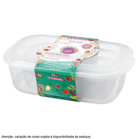 Imagem de Conjunto de Potes Retangular Vac Freezer 3 Peças Sanremo