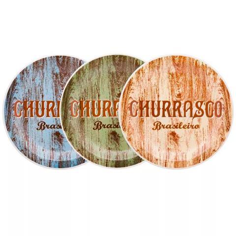 Imagem de Conjunto de Pratos Rasos para Churrasco 26 cm 3 Peças - Oxford