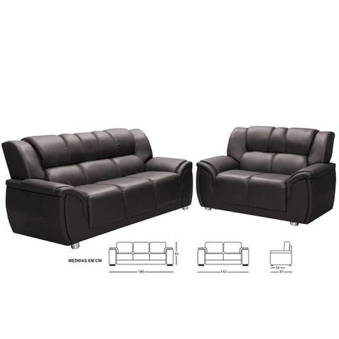 Imagem de Conjunto de sofá Hellen 3 e 2 lugares Córdoba em P.U. - Marrom