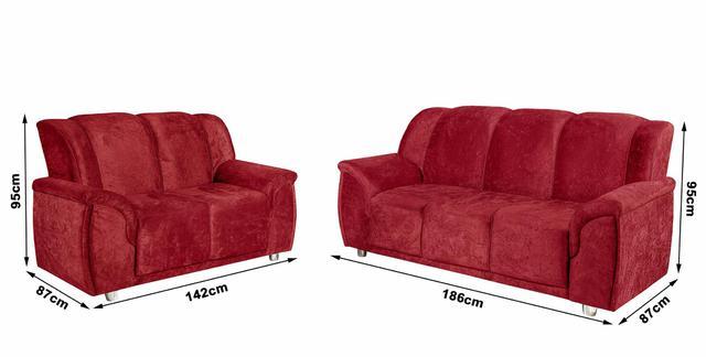 Imagem de Conjunto de Sofá Quality 3 e 2 Lugares Tecido Suede Amassado Vermelho - Hellen