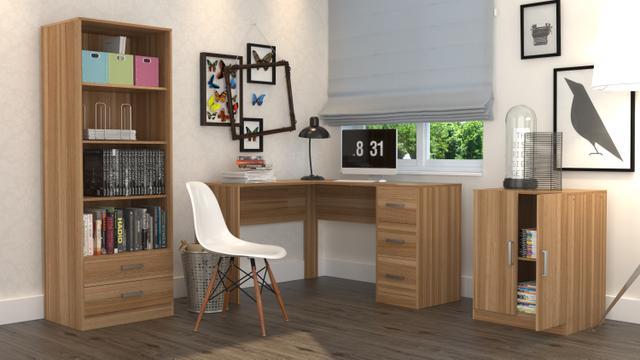 Imagem de Conjunto Escritório Office Plus Appunto 3 Peças: Armário Com Gavetas, Escrivaninha Em L Com 3 Gavetas E Balcão - Castanho