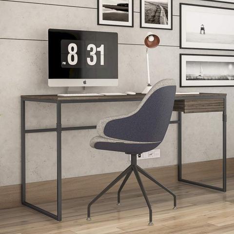 Imagem de Conjunto Escrivaninha 134,6cm 1 Gaveta Elisa e Estante Alta 5 Prateleiras Londres Novabras Amêndoa Negra/Preto