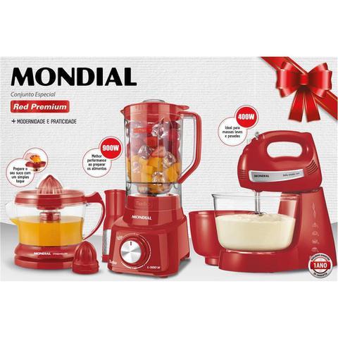 Imagem de Conjunto Especial Mondial KT-96 Red Premium (Espremedor Premium + Batedeira Bella Massa Inox + Liquidificador Turbo L-900)- 110V
