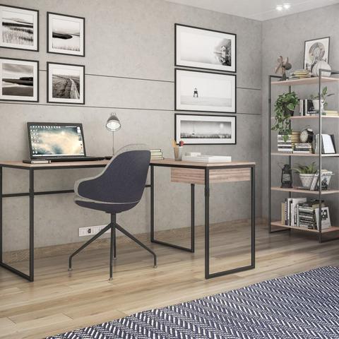 Imagem de Conjunto Estante 5 Prateleiras Londres e Escrivaninha em L 1 Gaveta Erica Novabras Carvalho/Preto