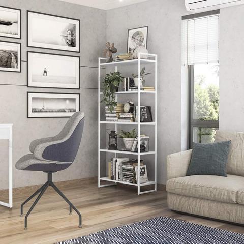 Imagem de Conjunto Estante 5 Prateleiras Londres Escrivaninha 135cm 1 Gaveta Elisa Novabras Branco