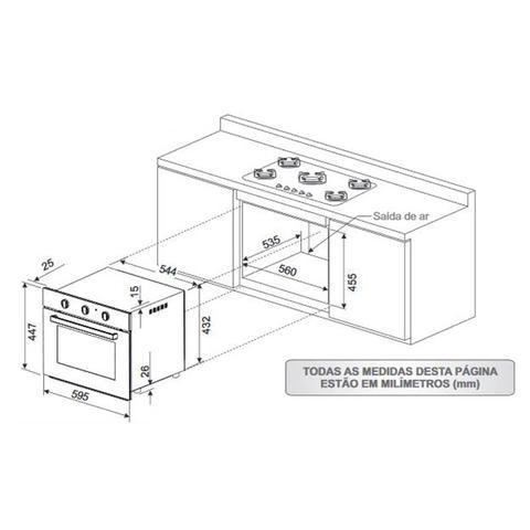 Imagem de Conjunto Forno Elétrico de Embutir 50L e Coifa de Parede 60cm 220V Fischer Cinza