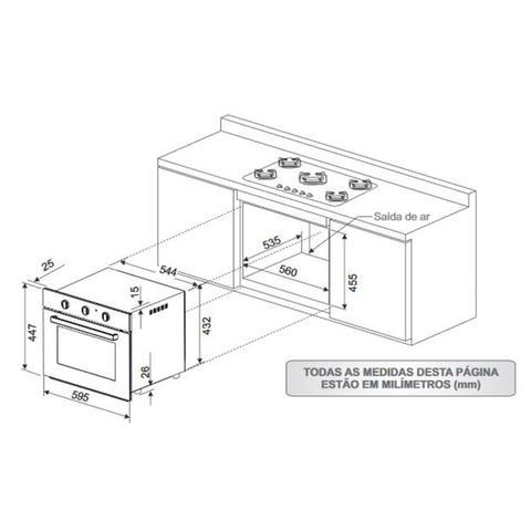 Imagem de Conjunto Forno Elétrico de Embutir 50L e Depurador 80cm 220V Fischer Branco