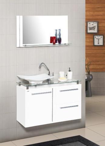 Imagem de Conjunto gabinete + armário para banheiro azaleia 60 cm c/ tampo de vidro branco