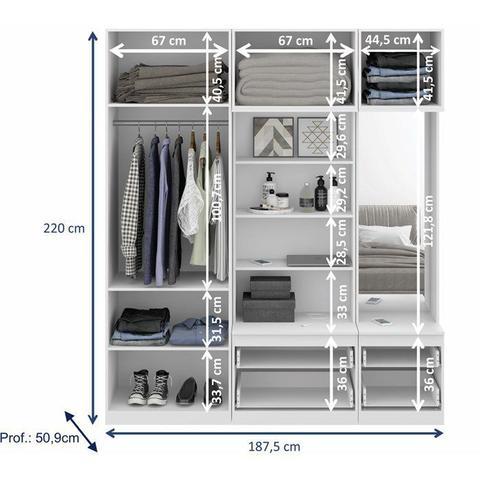 Imagem de Conjunto Guarda Roupa Modulado 9005 Free Branco Be Mobiliario