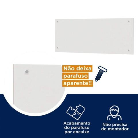 Imagem de Conjunto Guarda Roupa Modulado Canto Casal e Cabeceira 5 Peças Sauá CabeCasa MadeiraMadeira Branco