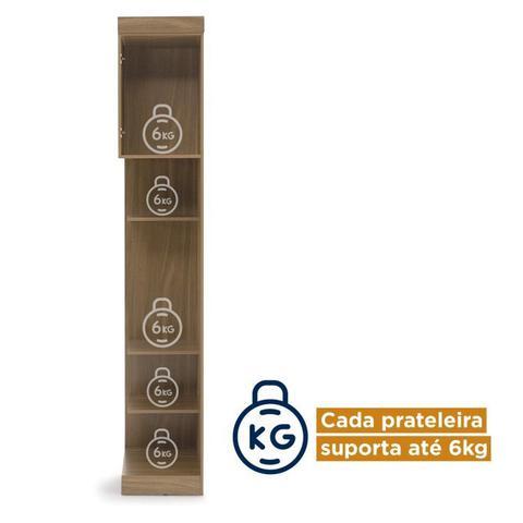 Imagem de Conjunto Guarda Roupa Modulado Canto Casal e Cabeceira 6 Peças Sauá CabeCasa MadeiraMadeira Amêndoa/Branco