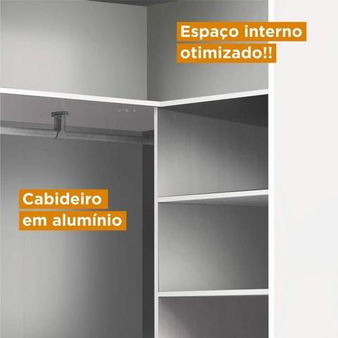 Imagem de Conjunto Guarda Roupa Modulado Canto Casal e Cabeceira 6 Peças Sauá CabeCasa MadeiraMadeira Branco
