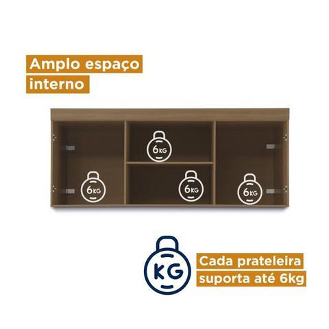 Imagem de Conjunto Guarda Roupa Modulado Canto e Cabeceira Casal 6 Peças Sauá CabeCasa MadeiraMadeira Amêndoa/Branco