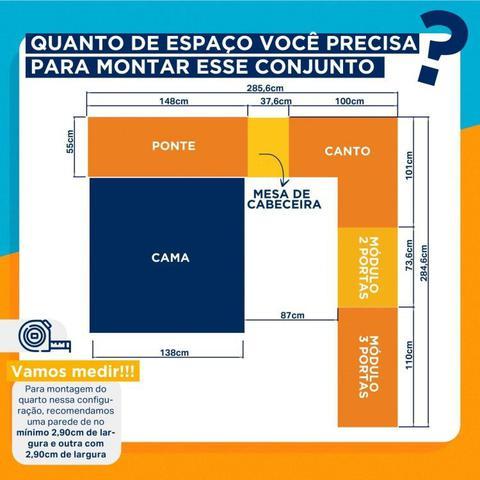 Imagem de Conjunto Guarda Roupa Modulado Canto e Cabeceira Casal 6 Peças Sauá CabeCasa MadeiraMadeira Branco