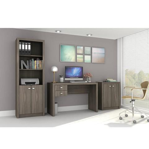 Imagem de Conjunto Home Office CB01 com Escrivaninha, Armário Alto e Armário Baixo Carvalho Casa da Mobília