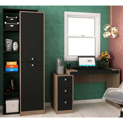 Imagem de Conjunto Home Office com Escrivaninha e Armário 2 Portas  Móveis Avelã TX/Ônix TX