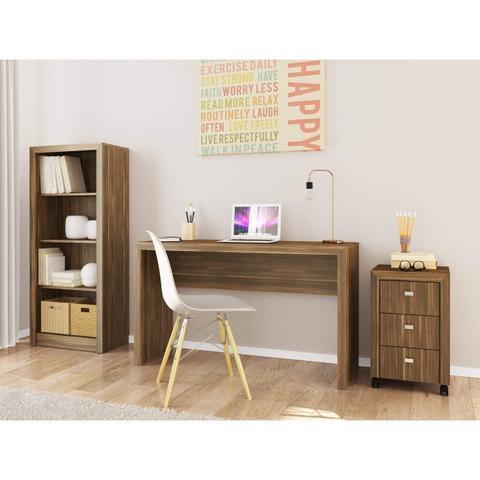 Imagem de Conjunto Home Office com Mesa, Armário Baixo com Nicho e Gaveteiro 3 Gavetas Espresso Móveis Nogal