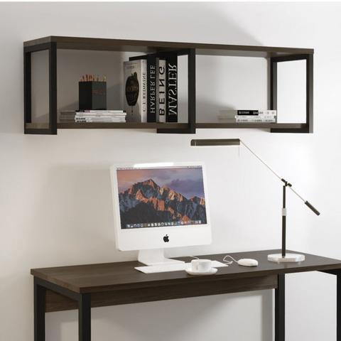 Imagem de Conjunto Home Office Escrivaninha e Prateleira Industrial em Aço e BP Yescasa Preto/Mocaccino