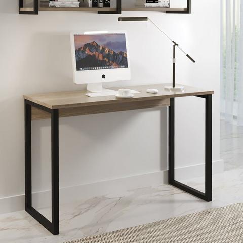 Imagem de Conjunto Home Office Escrivaninha e Prateleira Industrial em Aço e BP Yescasa Preto/Siena