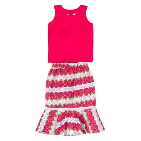 Imagem de Conjunto Infantil Precoce Feminino Blusa de Viscose Pink e Saia Midi Estampa Pitaya  Tam 12