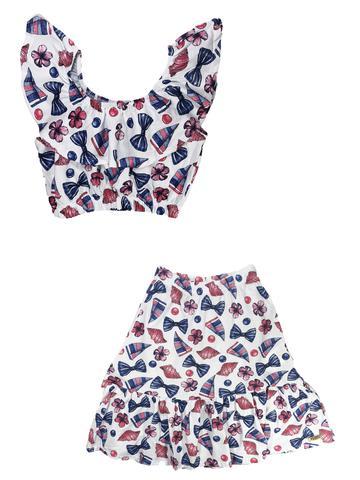 Imagem de Conjunto infantil verão estiloso  com saia midi malha estampada blusa ciganinha beach - minore
