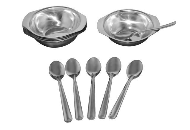 Imagem de Conjunto Inox para Sobremesa com 6 Taças e 6 Colheres BZ59-1 Metalúrgica Boz
