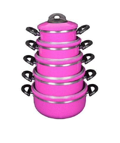 Imagem de Conjunto Jogo Panelas Laredu Caçarolas 5 Pçs Alumínio Rosa