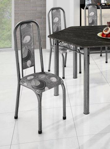 Imagem de Conjunto Madmelos 6 Cadeiras Tampo Ardósia Sextavada Preta