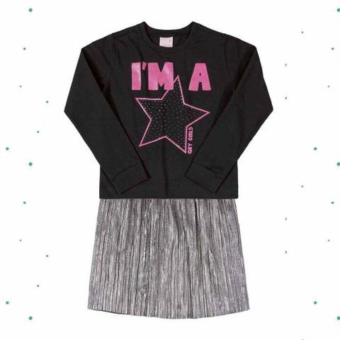 Imagem de Conjunto Menina Quimby Blusa em Cotton e Saia Midi em Tecido Plissado