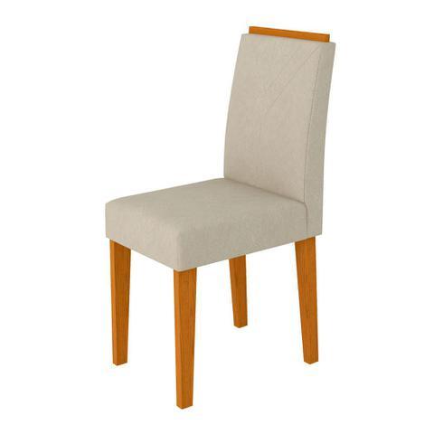 Imagem de Conjunto Mesa de Jantar Jasmin 1,60m Tampo de Madeira com Vidro Colado com 6 Cadeiras Amanda Ypê Offwhite WD22 New Ceval