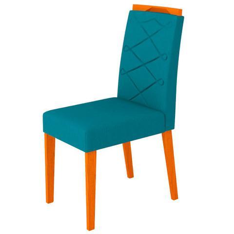 Imagem de Conjunto Mesa de Jantar Jasmin 1,60m Tampo de Madeira com Vidro Colado com 6 Cadeiras Carolina Ypê Preto WD26 New Ceval