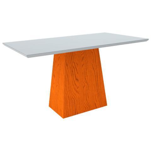 Imagem de Conjunto Mesa de Jantar Jasmin 1,60m Tampo de Madeira com Vidro Colado com 6 Cadeiras Giovana Ypê Offwhite WD22 New Ceval