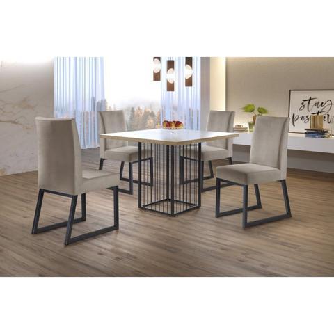 Imagem de Conjunto Mesa de Jantar Tampo em Vidro 90cm Hera e 4 Cadeiras Estofadas Apolo Mais Decor Veludo Camurça/Grafite/ Siena/Off White