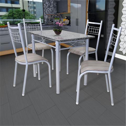 Imagem de Conjunto Mesa Genebra 100x60 com 4 Cadeiras Lisboa Fabone