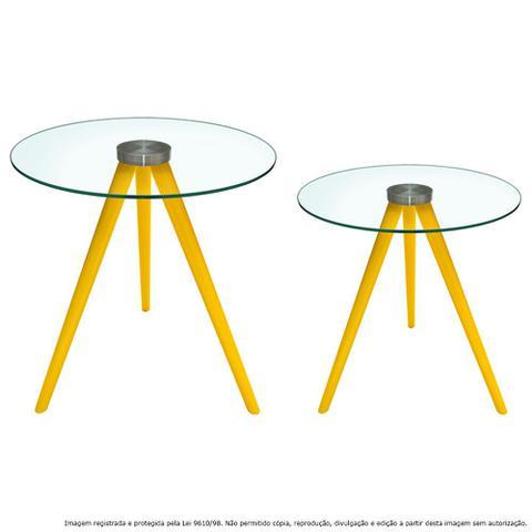 Imagem de Conjunto Mesa Lateral de Canto Tripé Laqueada Amarela com Tampo de Vidro Incolor