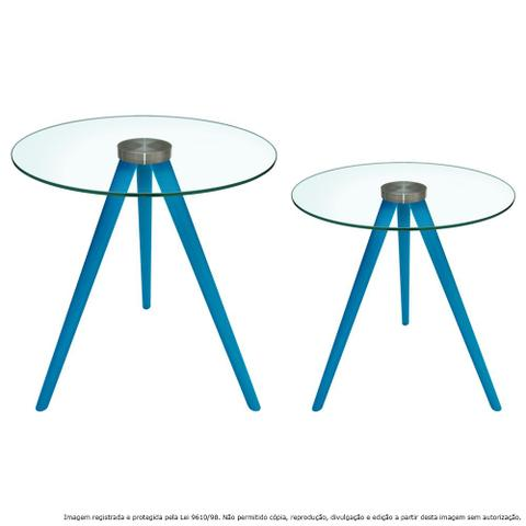 Imagem de Conjunto Mesa Lateral de Canto Tripé Laqueada Azul Turquesa com Tampo de Vidro Incolor