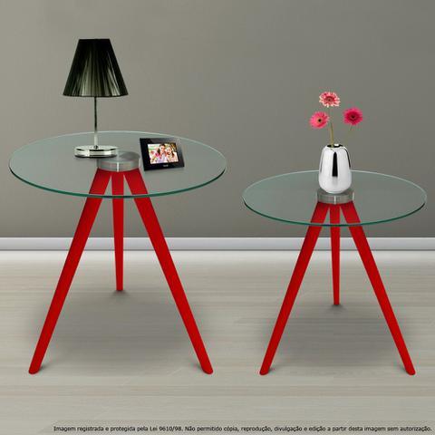 Imagem de Conjunto Mesa Lateral de Canto Tripé Laqueada Vermelha com Tampo de Vidro Incolor