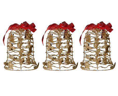 Imagem de Conjunto Mini Sino De Natal Dourada Enfeites Natalino Kit 3 Unidades (NA-12 Arvore Sino Dourado)