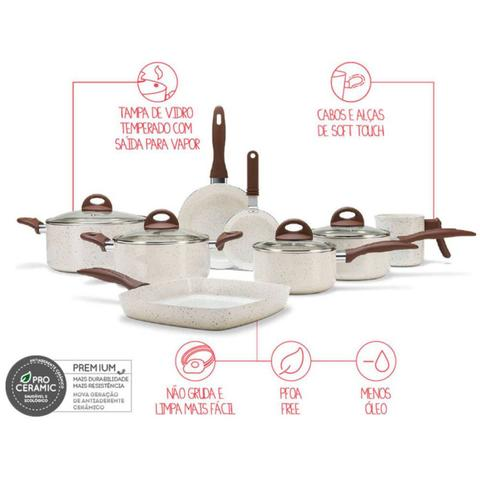 Imagem de Conjunto Panelas 8 Peças Ceramic Life Smart Plus Brinox Vanilla
